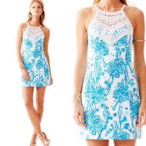 Lilly Pulitzer   Rare Pearl Lace Neck Shift Dress